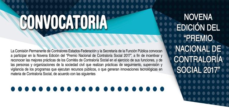 Novena Edición del Premio Nacional de Contraloria Social 2017