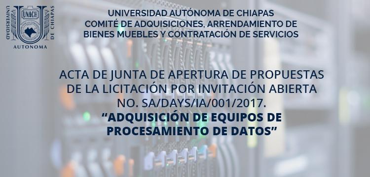 Acta de apertura de la licitación por invitación SA/DAyS/IA/001/2017