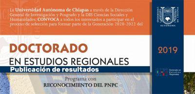 Publicación de resultados doctorado en estudios regionales