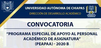 Programa Especial de Apoyo al Personal Académico de Asignatura (PEAPAA) - 2020B