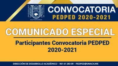Comunicado Participantes Convocatoria PEDPED 2020-2021